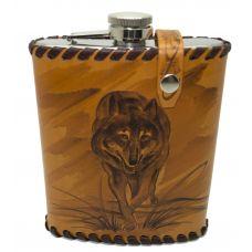 """Фляга """"Волчица"""" 0,6 литра в оплетке из натуральной кожи"""
