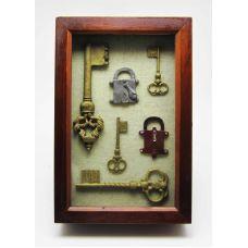"""Ключница-коллаж настенная """" Старинные ключи"""" большая"""