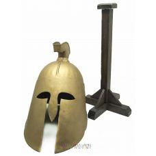 Шлем древнегреческий на деревянной подставке