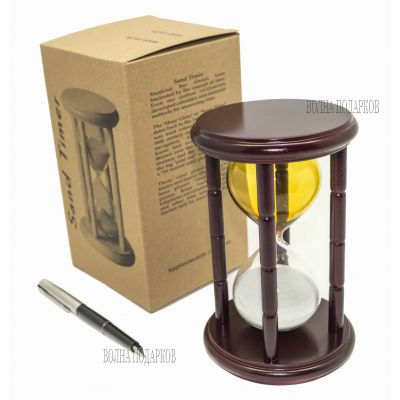 Купить Часы песочные 15 минут желто-белые  в Москве