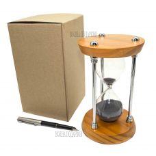 Песочные часы на 15 минут, черный песок, металлические опоры