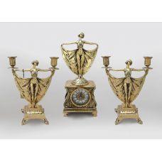 Часы каминные с канделябрами в наборе Балерина, золото