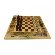 Подарочный набор игр шахматы нарды, шашки с доской  Сафари