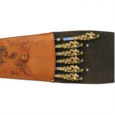 Шампура подарочные (драконы) 6шт. вколчане изнатуральной кожи