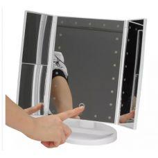 Зеркало косметическое с LED подсветкой.белый цвет