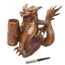 Статуэтка-подставка для письменных приборов из дерева «Дракон»