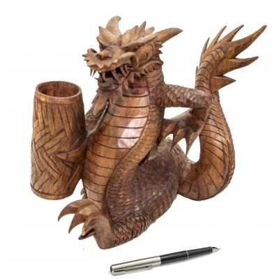 Купить Статуэтка-подставка для письменных приборов из дерева «Дракон» в Москве
