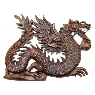 Купить Панно резное из дерева «Дракон» в Москве