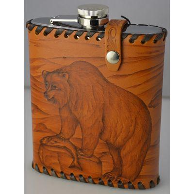 """Купить Фляга """"Медведь"""" 0,6 литра в чехле из натуральной кожи в Москве"""