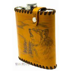 """Фляга """"Воющий волк"""" 0,6 литра в чехле из натуральной кожи"""