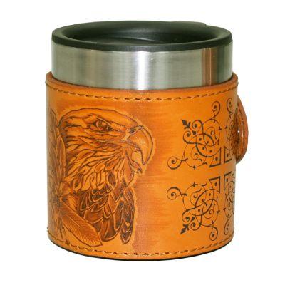 Купить Термокружка в натуральной коже в Москве