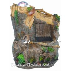 Фонтан Композиция Слоны у водопада,25см