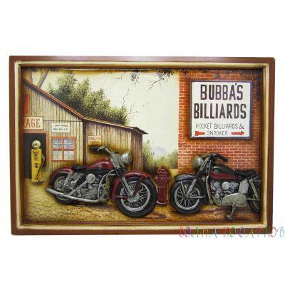 Купить панно  Мотоциклы у бильярдной в Москве