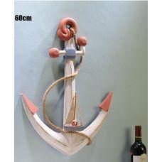 Якорь морской декоративный 60см с кораблем