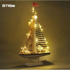Модель яхты с подсветкой, дерево, парусина