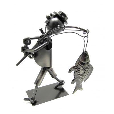 Купить Фигурка из металла Рыбак с рыбиной  в Москве