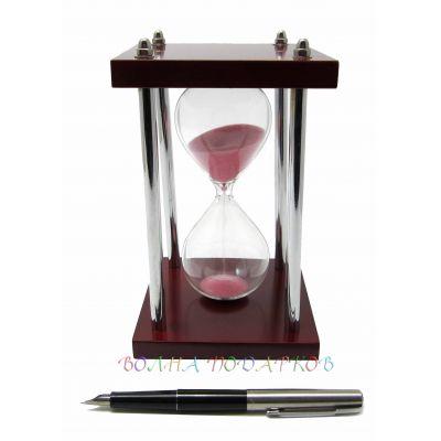 Купить Часы песочные 5 минут розовый песок, металлические ножки в Москве