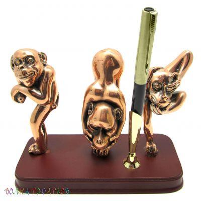 """Купить Набор письменный """"Три обезьянки"""" на деревянной подставке в Москве"""
