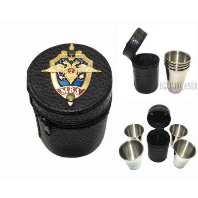 Купить набор стальных стопок с символикой МВД в Москве