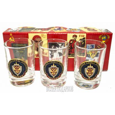 Купить набор стеклянных стопок с символикой ФСБ в Москве