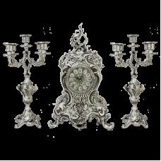 Часы антикварные каминные с маятником с канделябрами Ласу Колуна