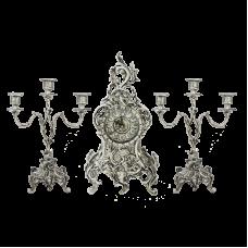 Часы каминные с канделябрами Дон Луиш, серебро