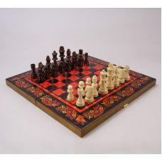 Подарочный набор игр шахматы нарды, шашки с доской  Хохлома красная