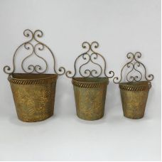 Кашпо настенное, набор из 3-х,  для цветов   золотая патина