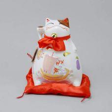 Манэки нэко машущая лапой из керамики Здоровья и Счастья!