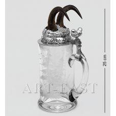 W-519-4G Пивная кружка с рожками серны с гравировкой