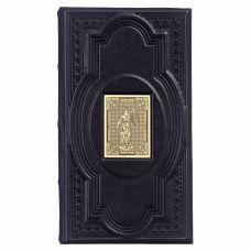 Визитница настольная «Фемида-4» с накладкой покрытой золотом 999 пробы