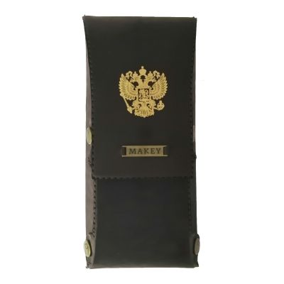 Купить Футляр для очков   Герб РФ золото   Коричневый в Москве