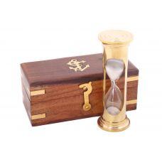 Песочные часы  в деревянном футляре с морской символикой