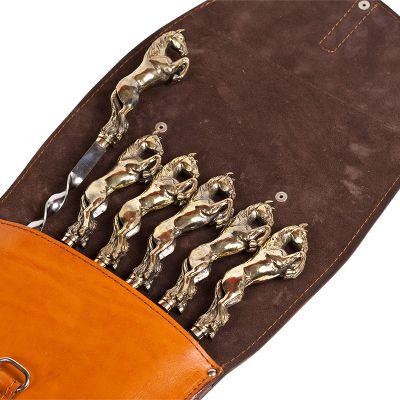 Купить  Шампура подарочные 6шт. в колчане из натуральной кожи НОВИНКА! в Москве
