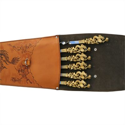 Купить  Шампура подарочные (драконы) 6шт. вколчане изнатуральной кожи в Москве
