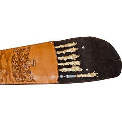 Купить  Шампура подарочные 6шт. вколчане изнатуральной кожи НОВИНКА! в Москве