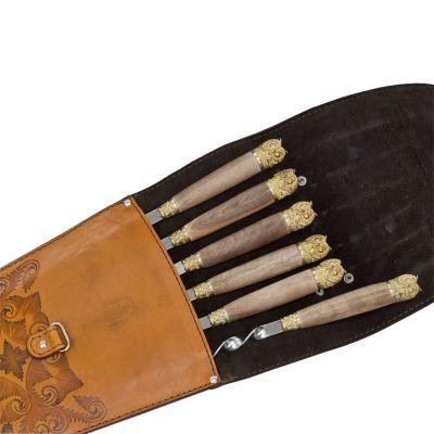 Купить  Шампура подарочные 6шт. вколчане изнатуральной кожи в Москве