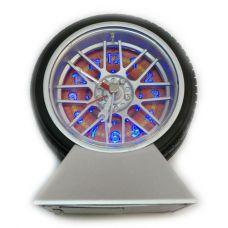 Часы колесо  будильник  с подсветкой на подставке
