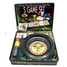"""Набор игр 5 в 1 """"Азарт"""" рулетка,карты,покер,блэк джек,кости"""""""
