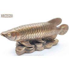 Бронзовая рыба на монетах,16см