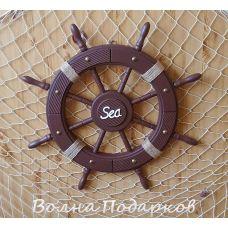 Штурвал деревянный SEA 62 см, дерево, бордо