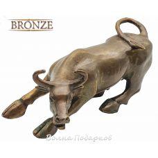 Статуэтка Атакующий Бык,20 см из бронзы