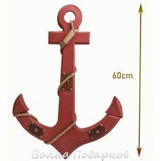 Якорь морской декоративный 60см,красный