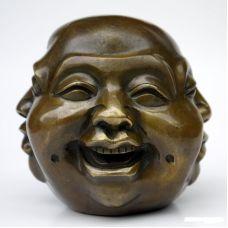 Многоликий Будда в бронзе, 4см
