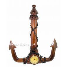 Часы Якорь из натурального дерева,45см
