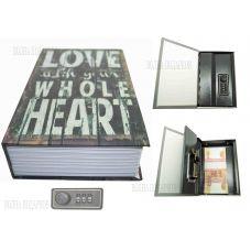 """Книга сейф с кодовым замком """"LOVE"""" 18см"""