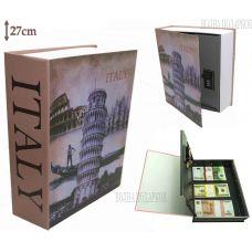 Книга сейф с кодовым замком  Путешествие в Италию, 27см