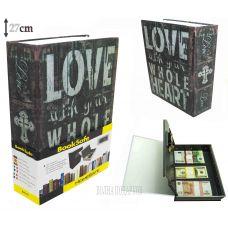 Книга сейф с кодовым замком  LOVE, 27см