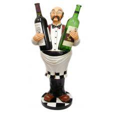 Статуэтка напольная Официант держатель для двух бутылок,высота 78см