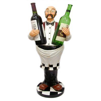 Купить Статуэтка напольная Официант держатель для двух бутылок,высота 78см в Москве